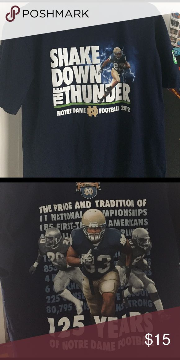 125 Year anniversary Notre Dame Football t-Shirt Great gently used condition screen printed on both sides.  See pictures. Shirts Tees - Short Sleeve
