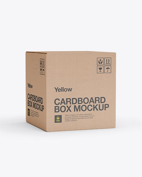Corrugated Box Mockup - 70° Angle Front View. Preview