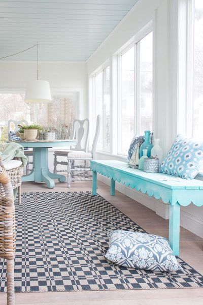 Coastal Sunroom & how to make this coastal bench I Finding Silver Pennies