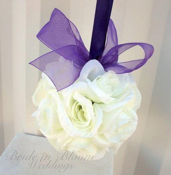 Wedding flower balls pomander ivory cream white purple Wedding decorations Ceremony Aisle pew markers