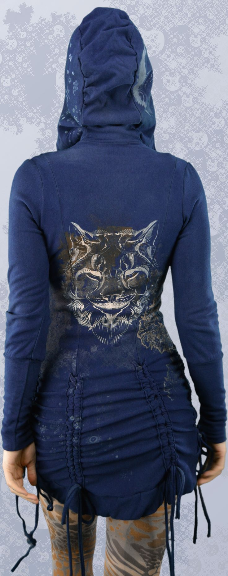 Bamboo Bustle Jacket made in Canada from organic fabric. Printed with totem animal visionary art, the lynx, mountain lion, snow flakes, crystal winter land scape, sacred geometry art.