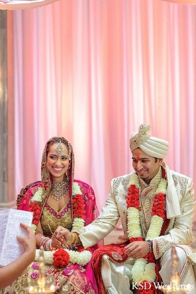 An Indian Bride And Groom Wed In A Traditional Hindu Wedding Ceremony