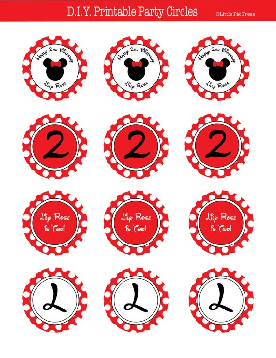 Red Minnie Mouse PRINTABLE Party Circles