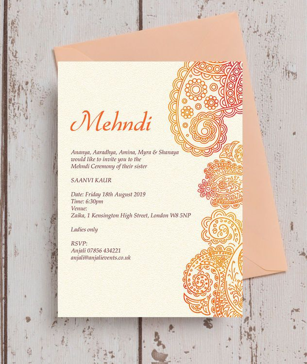 Orange Red Paisley Mehndi Baraat Card In 2020 Wedding