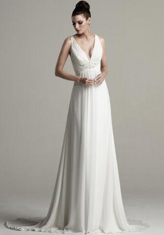 Chiffon V-neck Empire A-line Wedding Dress - Bride - WHITEAZALEA.com