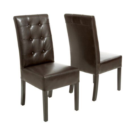 Noble House Jackson Button Tufted Leather Dining Chair (Set of 2), Brown