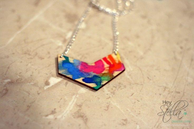 Jewellery : Geometric Chevron Necklace :: Rainbow