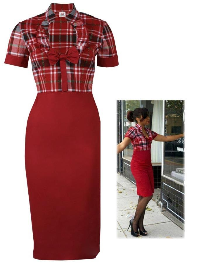 rockabilly clothes | Karo Pencil Kleid - Rockabilly Clothing - Online Shop für ...