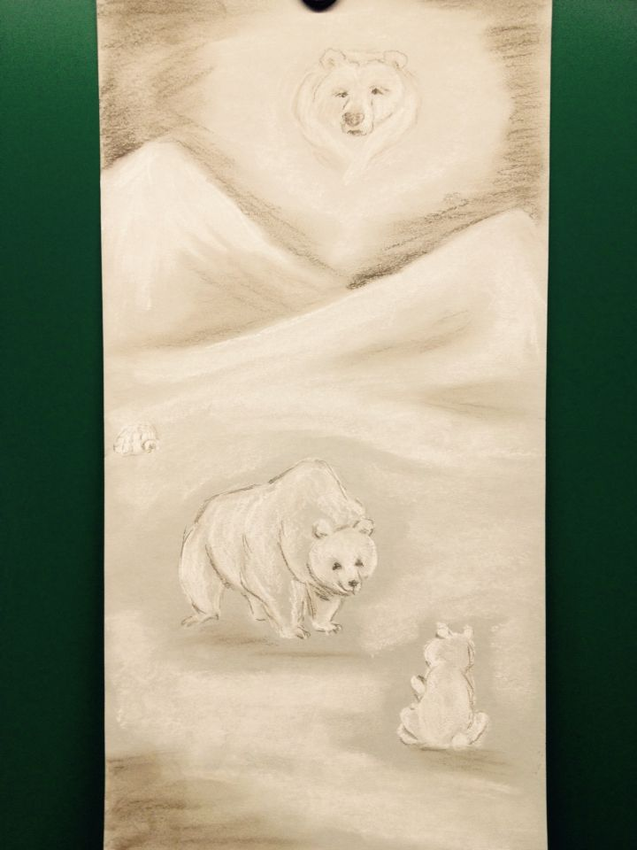 Chalk to gray paper. Polarbears