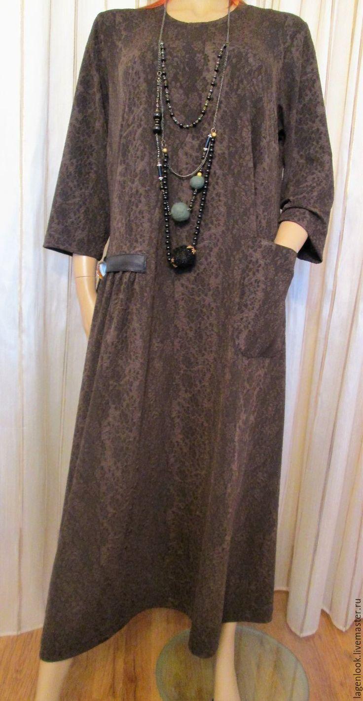 Купить Платье трикотажное коричневое - коричневый, цветочный, трикотаж, трикотажное платье, трикотажное полотно, платье