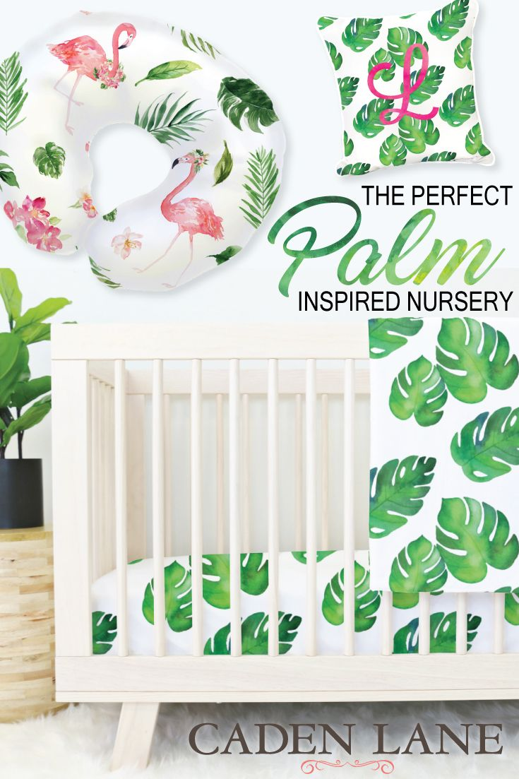 Loving this watercolor palm leaf crib bedding!