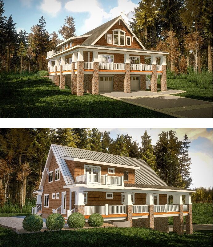 55 best homes for the sloping lot images on pinterest for Lake home plans with porches