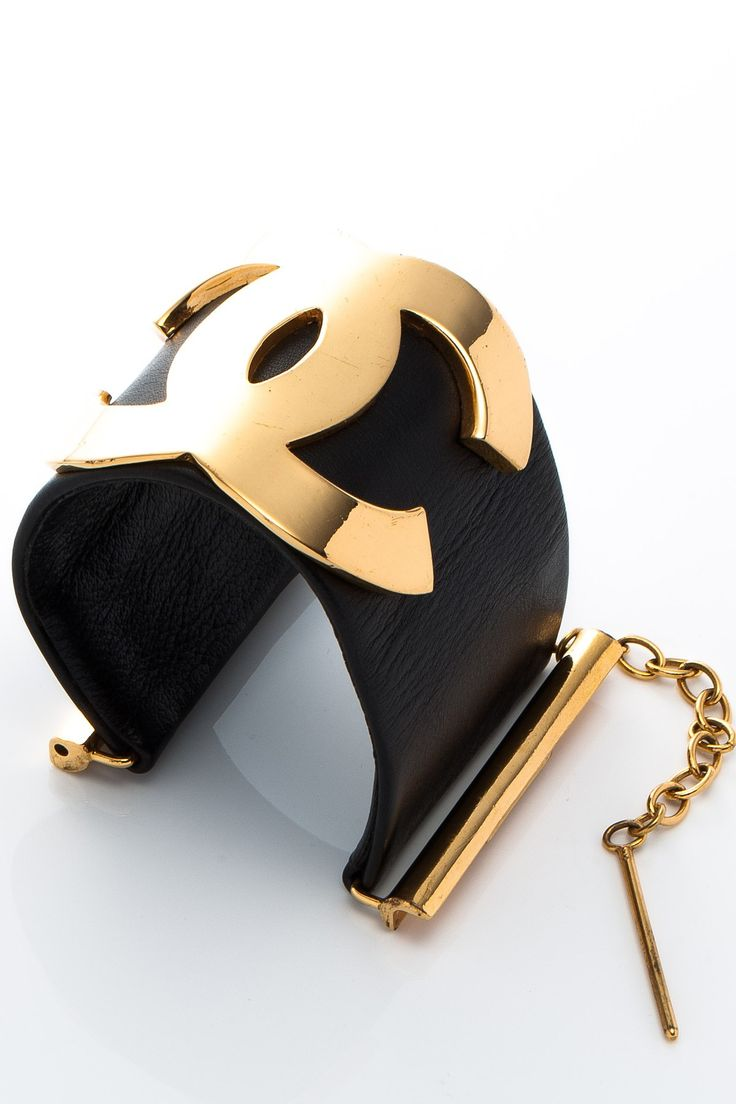 Vintage Chanel Leather CC Bangle