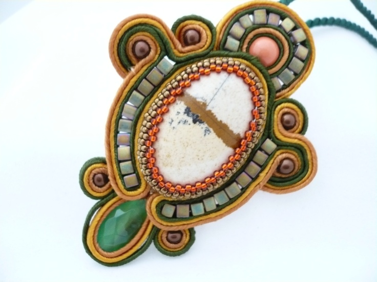 Soutache Pendant using square shaped Miyuki seed beads