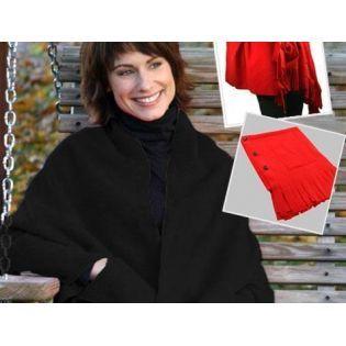 Giyilebilir Polar Cepli Düğmeli Şal - Siyah indirimli fiyat seçeneği ile Arastamarket.com da.
