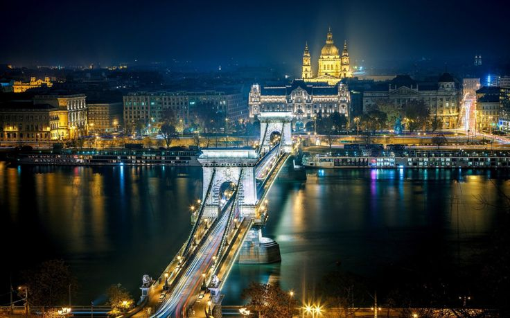 Nigh view over Budapest bridge over Danube river, Hungary #trivo