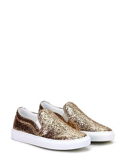 L'AUTRE CHOSE - Sneakers - Donna - Sneaker in glitter con inserti elasticizzati su ambo i lati e suola in gomma. Tacco 30. - ORO
