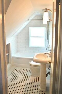 small bathroom with white boarder floor tile ~Del Ray Cape Cod Renovation - traditional - bathroom - dc metro - Harry Braswell Inc.