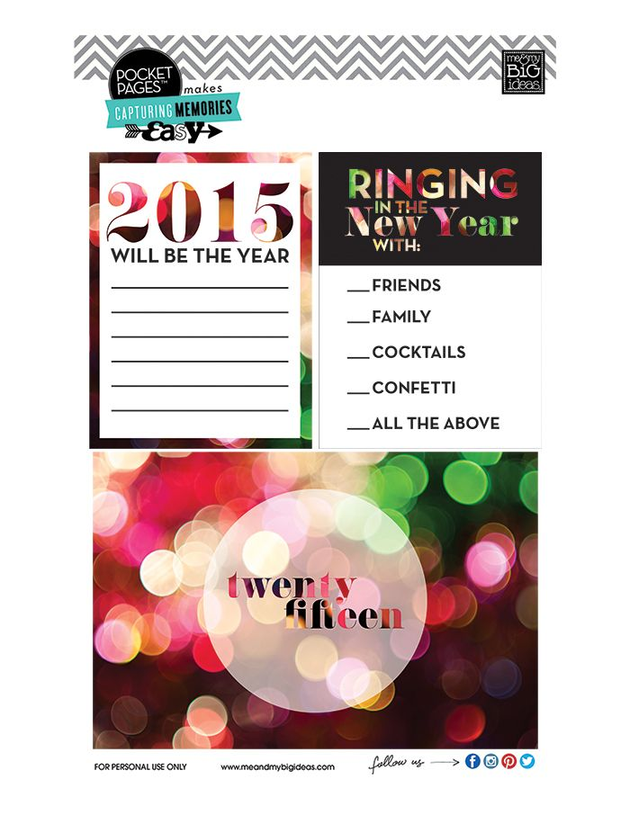 Free New Year 2015 Project Life POCKET PAGES™ Printable | me & my BIG ideas