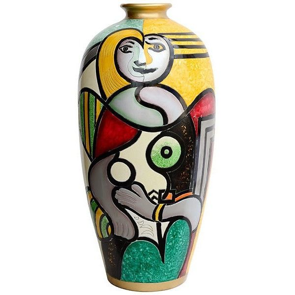 Picasso Inspired Large Floor Vase, Modern Lady