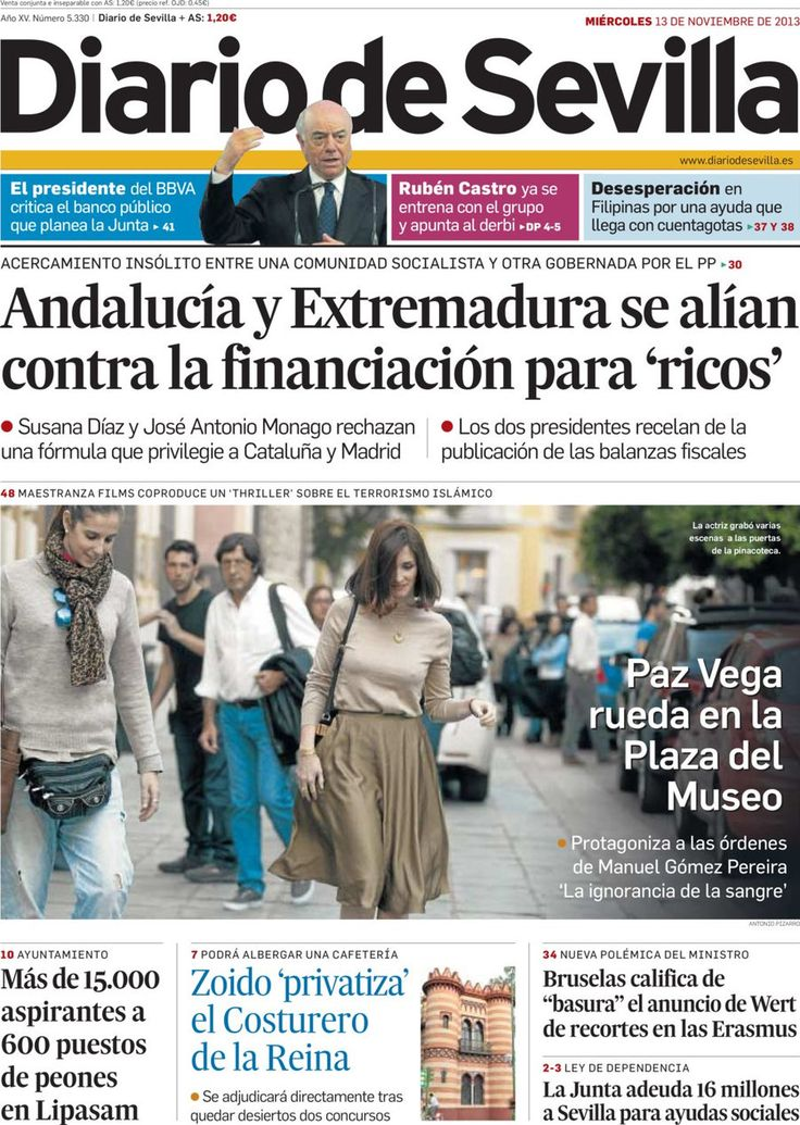Los Titulares y Portadas de Noticias Destacadas Españolas del 13 de Noviembre de 2013 del Diario De Sevilla ¿Que le pareció esta Portada de este Diario Español?
