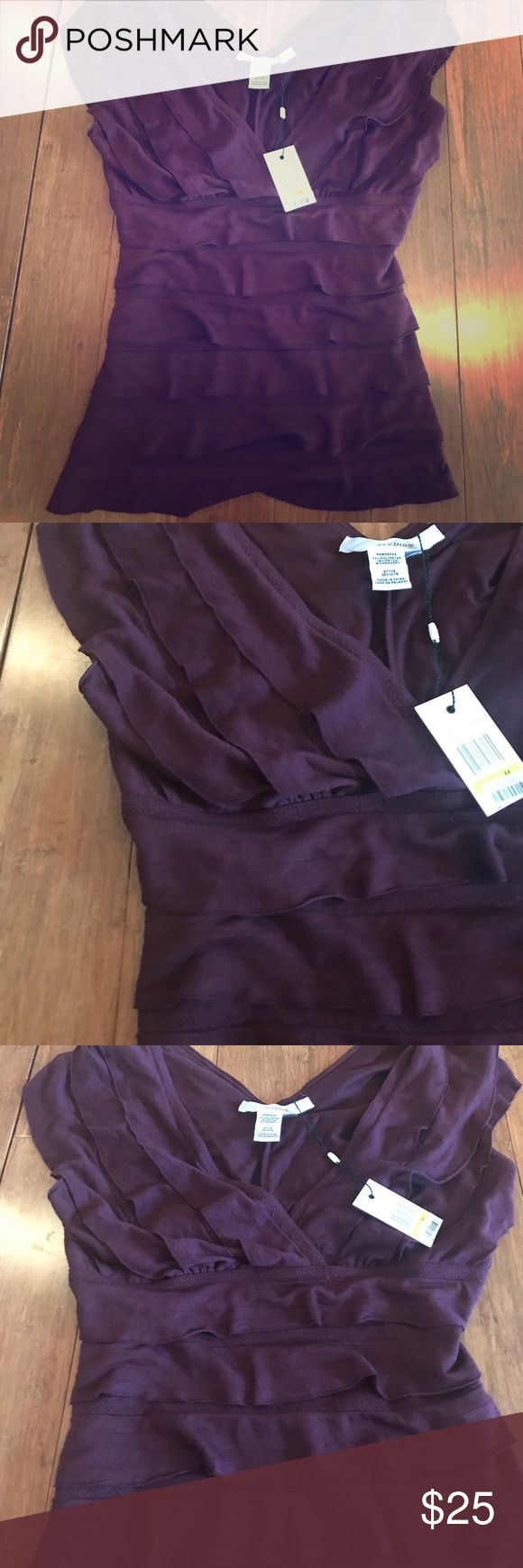 NWT Max Studio Bordeaux Ruffled Top New with Tags Studio M by Max Studio Bordeaux Ruffled Top. Size Medium. Perfect work top or pair with jeans and flats. Super soft! Max Studio Tops Blouses