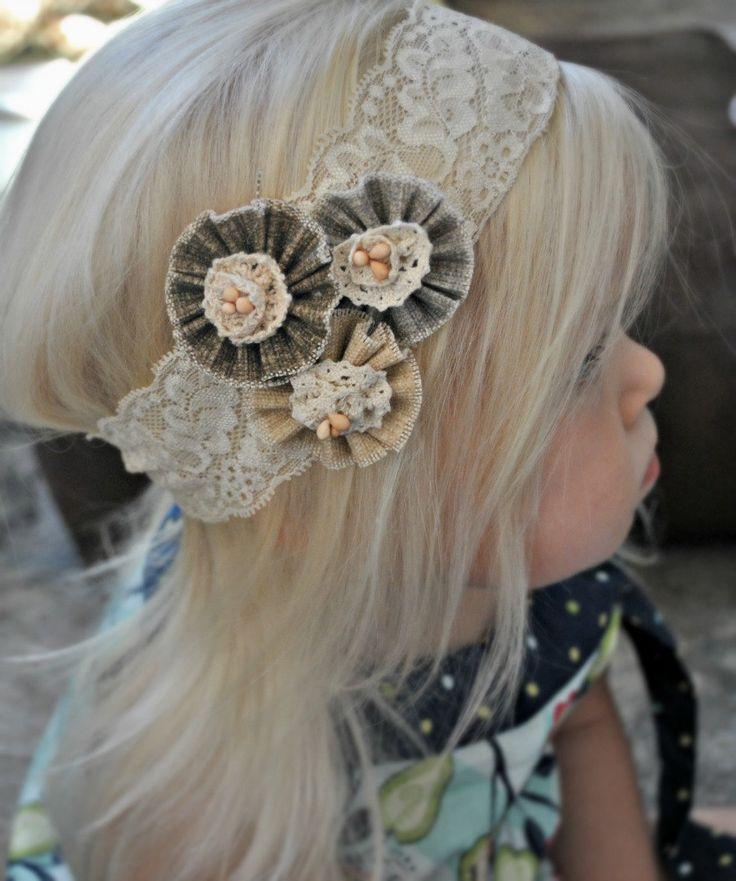 Beautiful flower girl burlap and lace headband.    http://www.etsy.com/listing/106885060/burlap-headband-burlap-baby-headband