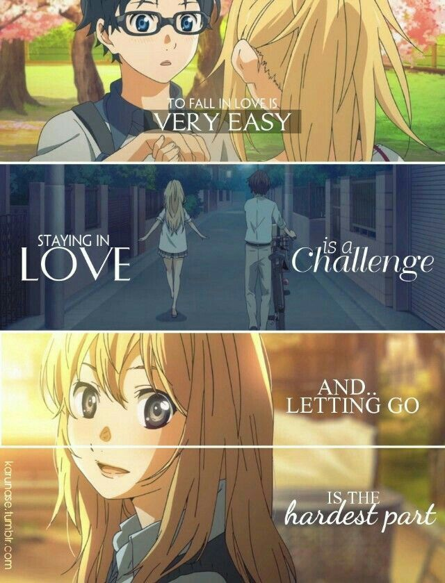 To fall in love is very easy, staying in love is a challenge, and letting go is the hardest part, sad, text, Kousei, Kaori; Your Lie in April