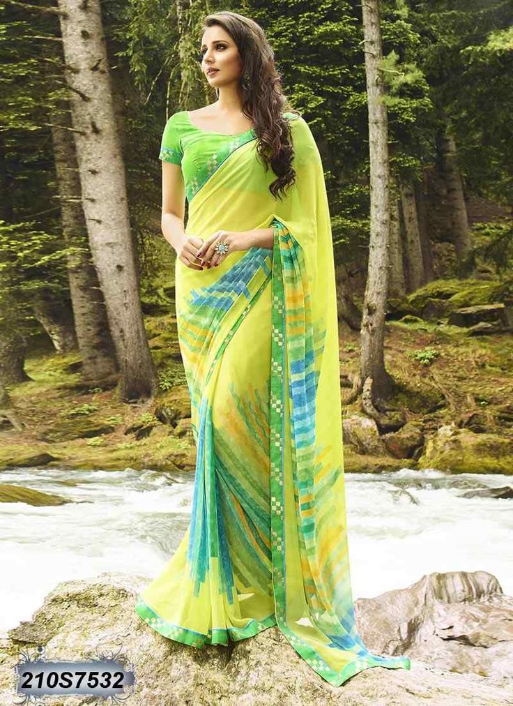 Decent Yellow Coloured Georgette Printed Saree