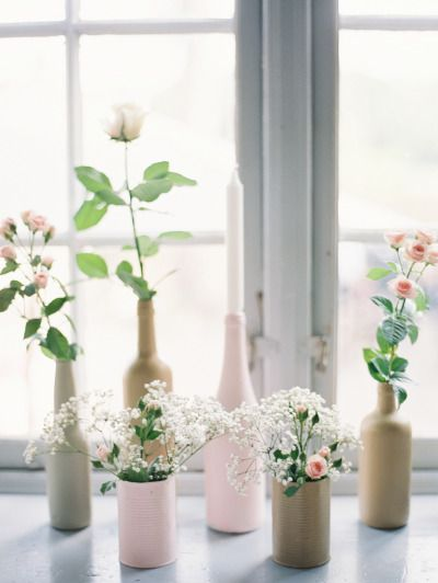 Painted bottles: http://www.stylemepretty.com/2015/02/05/romantic-cultural-infused-swedish-wedding/ | Photography: 2 Brides - http://2brides.se/