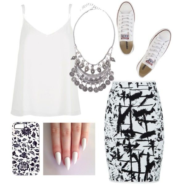 the classy white by fatmacelen on Polyvore featuring polyvore fashion style River Island BCBGMAXAZRIA Converse