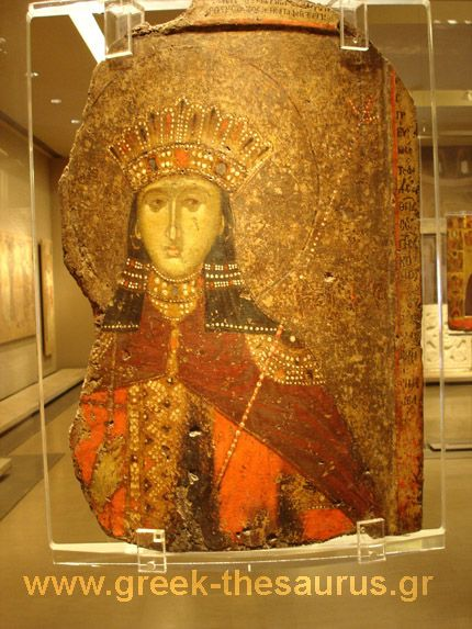 Double sided icon with Saint Catherine in front. From Berroia. 14th cent. Byzantine and Christian Museum of Athens