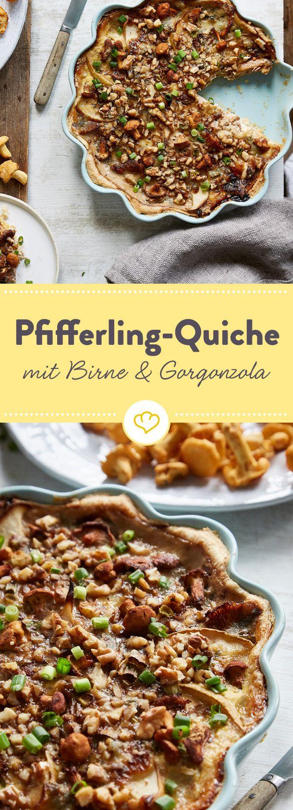 Es gibt immer einen guten Grund, eine Quiche zu backen. Wie wäre es denn heute mit Pfifferlingen, Birne und Gorgonzola, dazu etwas Walnüsse mit Honig?