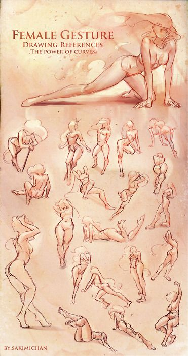 was working on this tonight, some female gesture references. Gesture drawing becomes more fun and useful when It's more about the flow and the curves rather then the anatomy.but you'll need a decent anatomic knowledge : )