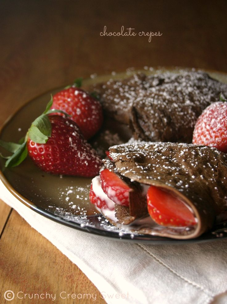 Chocolate Crepes with Strawberries and Cream Cheese by CrunchyCreamySweet.com