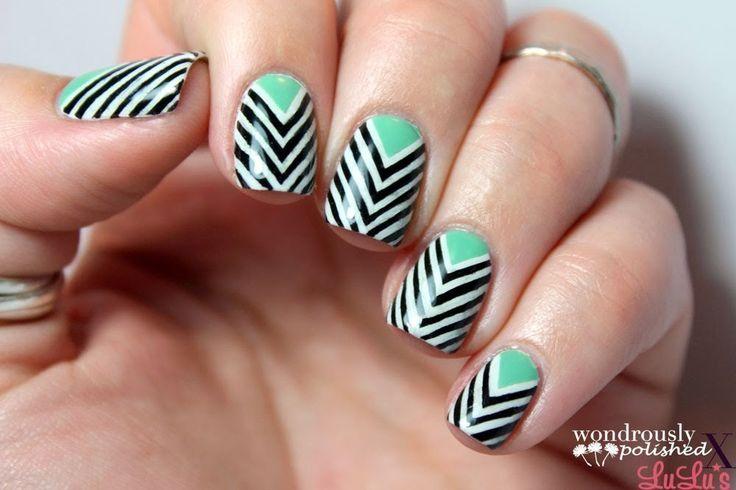 Taped Chevron Nail Art #howto #tutorial