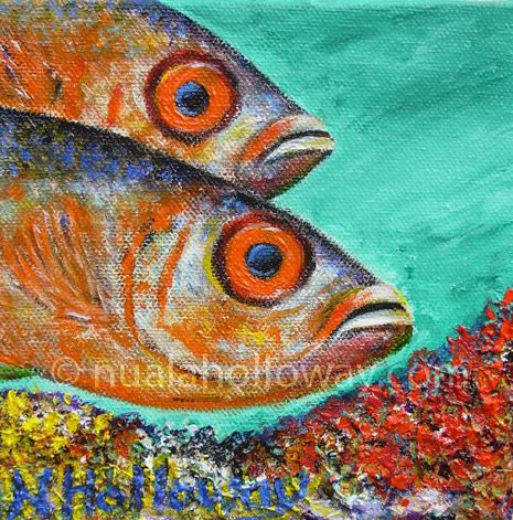 """""""Súile Móra"""" by Nuala Holloway - Oil and Sand on Canvas - Part of Nuala's """"Coral Collection"""" bringing attention to the beauty of this important and endangered Oceanic eco-system #Coral #Ecosystem #Oceans #Fish"""