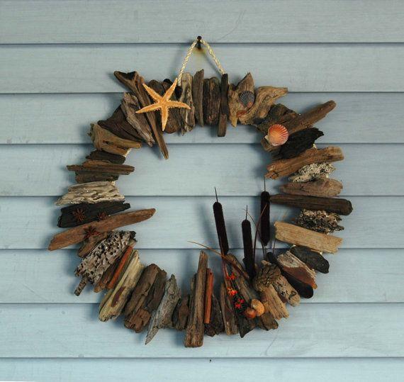 Autumn Starfish & Shell Driftwood Wreath by KaiHinaCoastal on Etsy