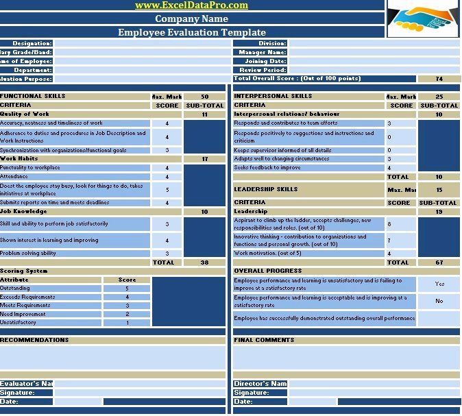 Employee Performance Scorecard Template Excel Fresh Download Employee Evaluation Or Empl Performance Evaluation Employee Performance Review Evaluation Employee