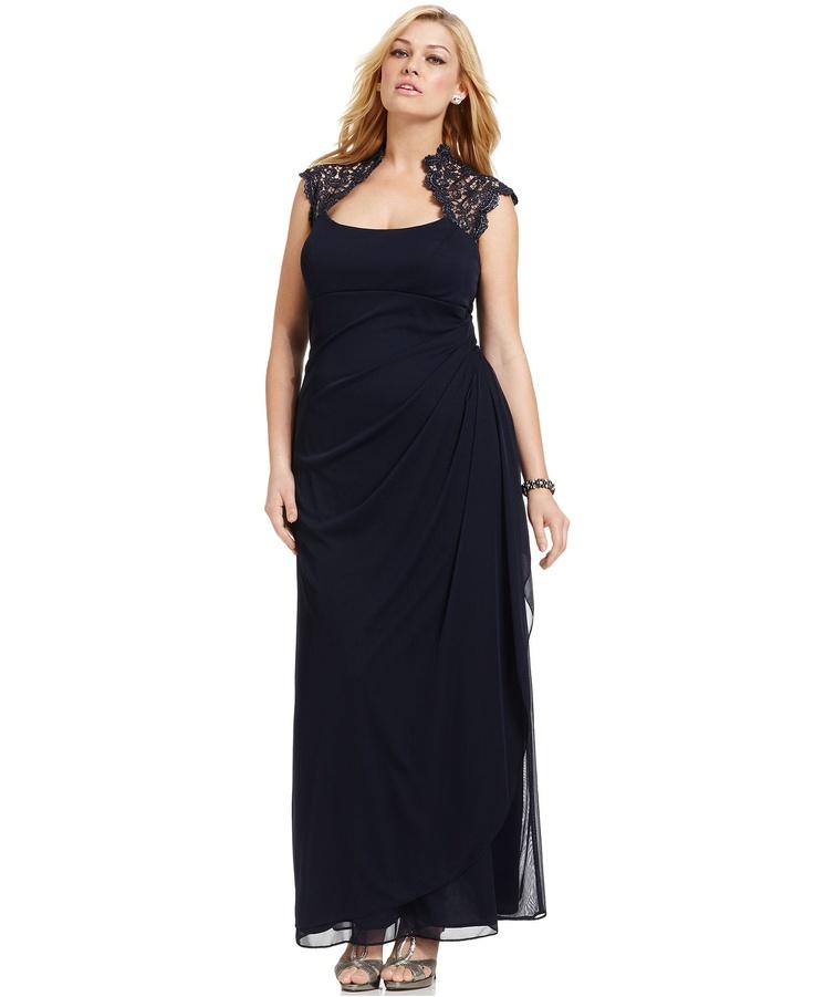Xscape Plus Size Dress, Cap-Sleeve Lace Gown - Plus Size Dresses - Plus Sizes - Macys $114 T16