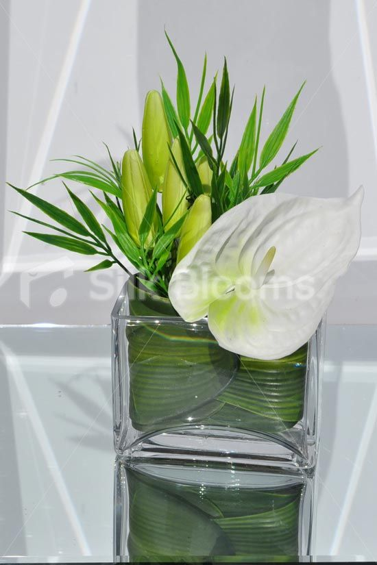 Classic Artificial White Fresh Touch Anthurium and Lily Bud Floral Table Arrangement