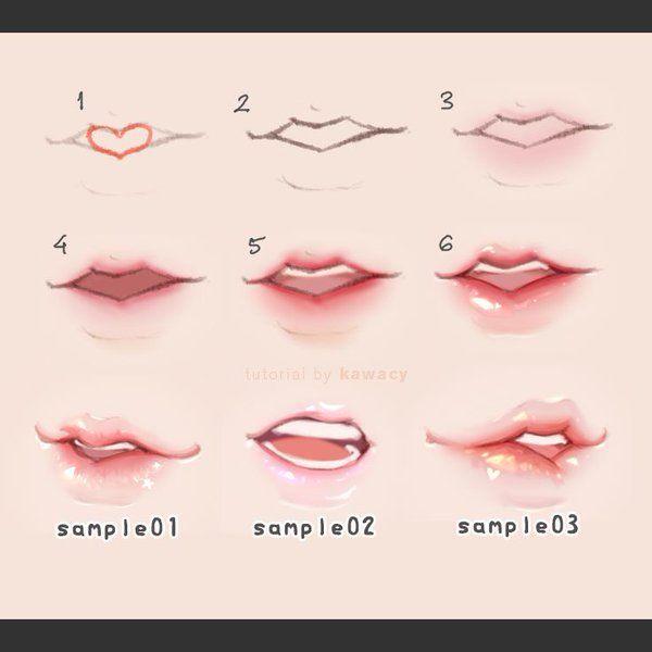 Dibujo ~ Tipos de labios realistas