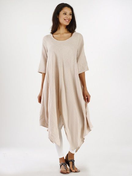 Linen Zig Zag Dress by Luna luz Spring '16
