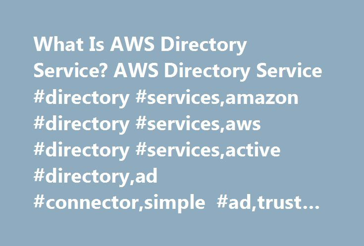 What Is AWS Directory Service? AWS Directory Service #directory #services,amazon #directory #services,aws #directory #services,active #directory,ad #connector,simple #ad,trust #relationship http://singapore.nef2.com/what-is-aws-directory-service-aws-directory-service-directory-servicesamazon-directory-servicesaws-directory-servicesactive-directoryad-connectorsimple-adtrust-relationship/  # What Is AWS Directory Service? AWS Directory Service provides multiple ways to use Amazon Cloud…