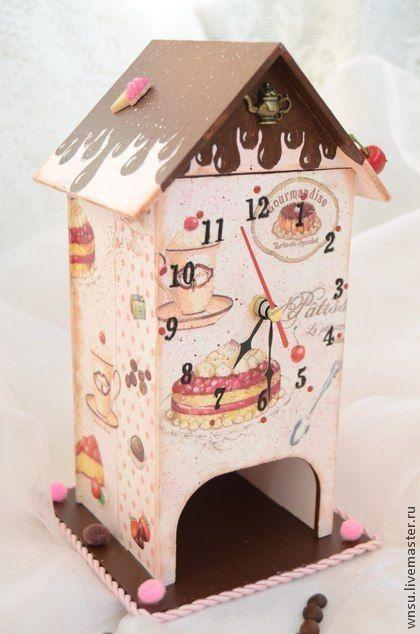 """Кухня ручной работы. Ярмарка Мастеров - ручная работа Чайный домик часы """"Шоколад"""". Handmade."""