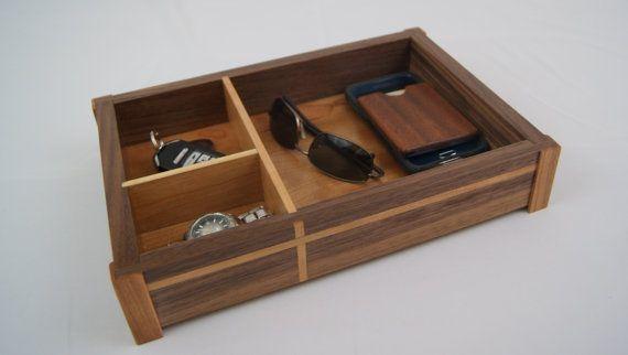 Dresser Valet Tray - Walnut and Cherry Wood with Cherry Inlay - Desk Tray - Desk Organizer - Nightstand Tray - Dresser Tray - Valet