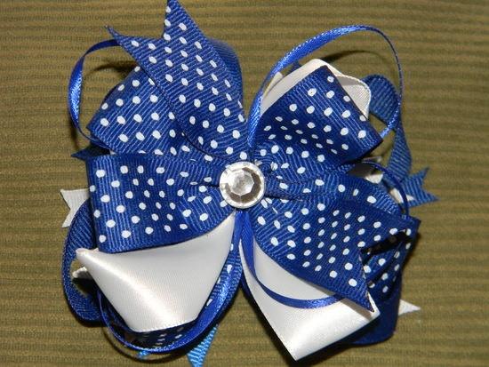 Blue Poka Dot stacked hair bow by TreasuredBowZ on Etsy, $6.50 free shipping in March: Hairs, Schools Sales, Poka Dots, Dots Stacking, Stacking Hair, Hair Bows, Things, Stacked Hair, Bows Schools