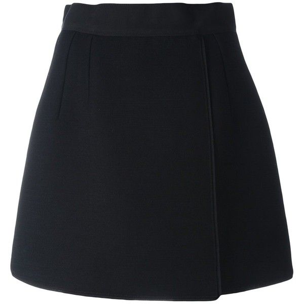 Dolce & Gabbana Short a-Line Skirt ($695) ❤ liked on Polyvore featuring skirts, mini skirts, black, high waisted a line skirt, a line skirt, wrap mini skirt, a line wrap skirt and high-waisted skirts