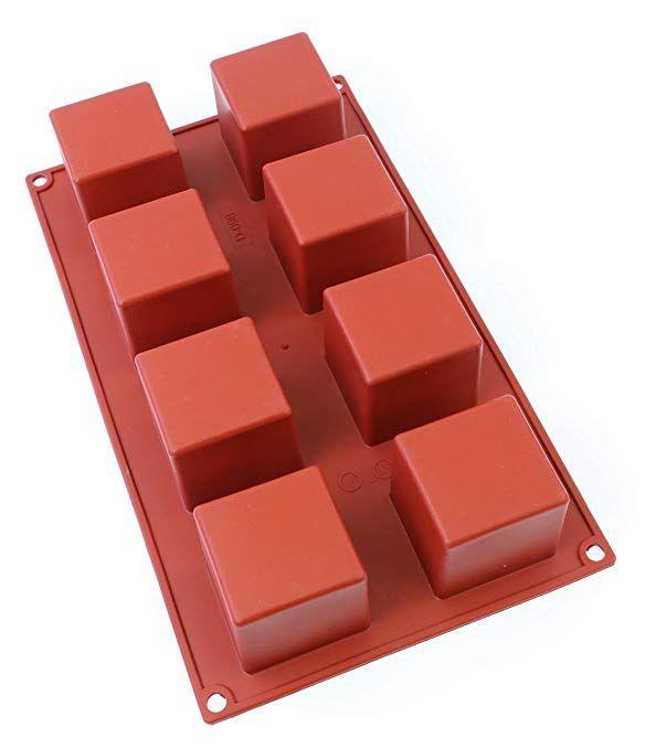 Oggibox 8 Cavity Square Cube Silicone Mold For Soap Cake Bread