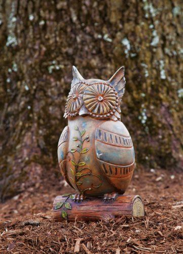 "Garden Gate Wistful Owl Statuary by Outdoor Decor. Save 37 Off!. $34.99. 12""L x 9.5""W x 13""H. Original design by © Creative Crickets. Multi-colored. Painted Resin with Metal and Wood Finish. Looking as if he was carved by an artisan just for you, this owl is charming. His wide open eyes take in the world around him, as long leafy branches decorate his feathers and the log he stands upon. What wisdom is hiding in his owl eyes? He is a garden accent sure to bring a whimsical sm..."